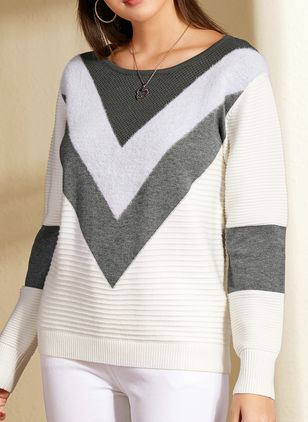 Round Neckline Color Block Casual Short Shift Sweaters (1370162)
