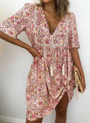 Casual Floral Tunic V-Neckline A-line Dress (4135001)