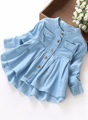 Girls' Solid Daily Long Sleeve Dresses