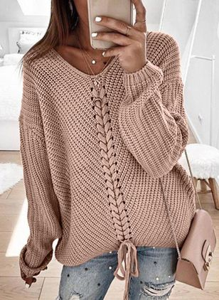 V-Neckline Solid Casual Loose Regular Shift Sweaters (5502067)