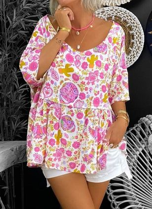 Plus Size Floral Casual Round Neckline 3/4 Sleeves Blouses (100447248)
