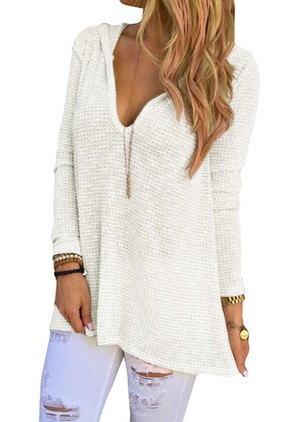 Cotton V-Neckline Solid Long Others Sweaters