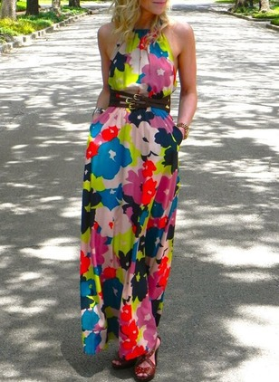 Floral Slip Sleeveless Maxi A-line Dress