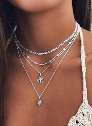 Casual Round No Stone Pendant Necklaces (1523255)