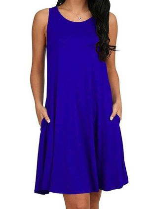 Casual Solid Tunic Round Neckline A-line Dress (4135008)