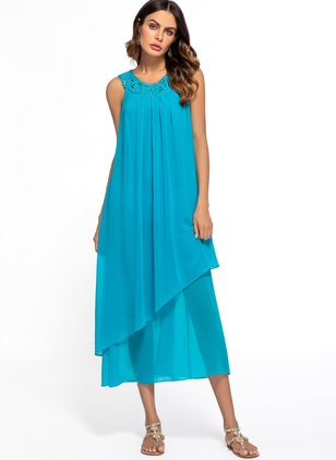 Solid Tank Camisole Neckline Maxi A-line Dress
