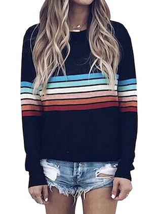 Round Neckline Stripe Casual Loose Regular Shift Sweaters (106588229)