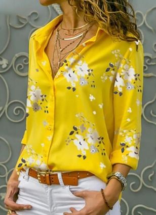 Floral Elegant Collar Long Sleeve Blouses (4101498)