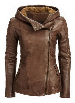 Long Sleeve Hooded Zipper Leather Coats (1268287)