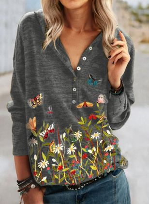 Floral Casual V-Neckline Long Sleeve Blouses (146664513)