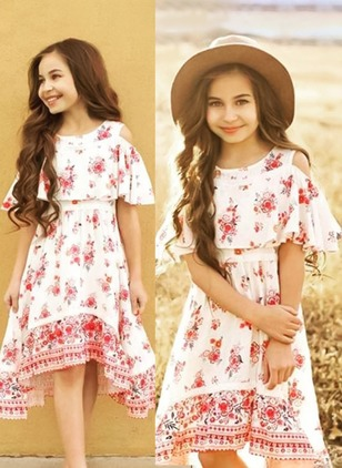 Girls' Floral Daily Half Sleeve Dresses