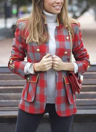 3/4 Sleeves High Neckline Buttons Coats