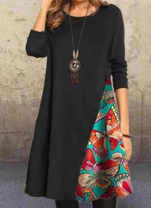 Casual Animal Tunic Round Neckline A-line Dress (112601856)