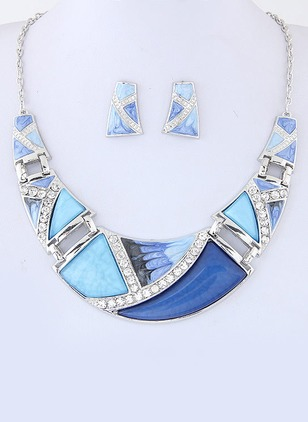 Geometric Round Crystal Necklace Earring Jewelry Sets