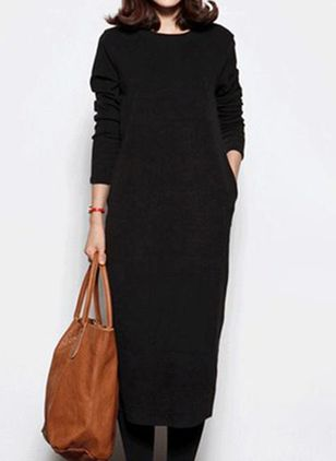 Casual Solid Tunic Round Neckline Shift Dress (105809831)