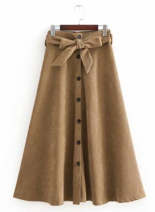 Color Block Mid-Calf Cute Buttons Skirts