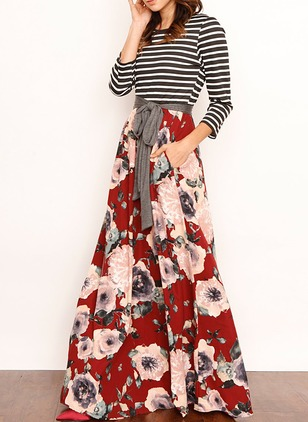 Floral Wrap 3/4 Sleeves Maxi Shift Dress (1213226)
