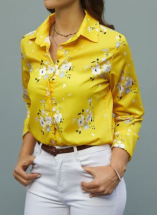 Floral Elegant Collar Long Sleeve Blouses (1467016)