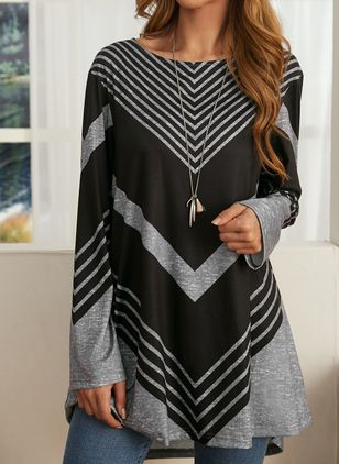 Stripe Casual Round Neckline Long Sleeve Blouses (106586978)