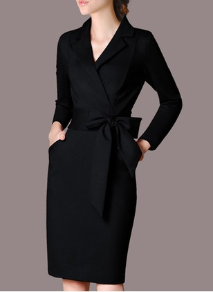 Solid V-Neckline Long Sleeve Knee-Length Sheath Dress