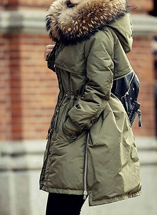 Long Sleeve Hooded Sashes Zipper Pockets Unremovable Fur Collar Parkas Coats (146703645)