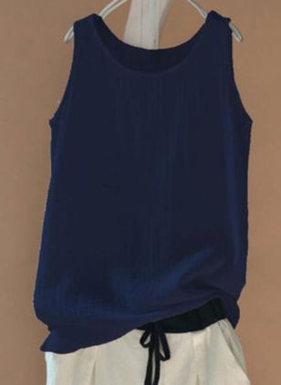 Solid Round Neck Sleeveless Casual T-shirts (4072424)
