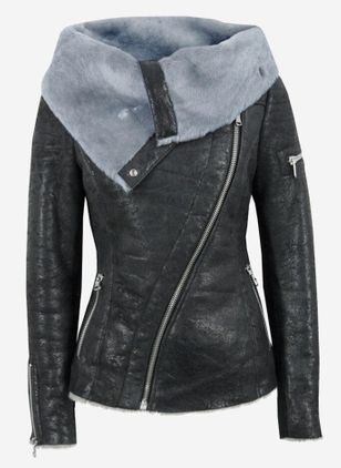 Long Sleeve Round Neck Buttons Zipper Pockets Leather Coats (110711252)