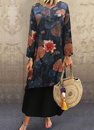 Chinese Casual Floral Tunic V-Neckline A-line Dress (107562047)