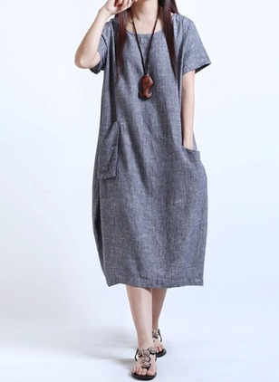 Cotton Linen Solid Short Sleeve Mid-Calf Casual Dresses  ...
