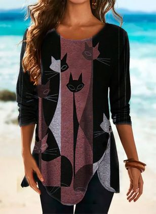 Animal Round Neck Long Sleeve Spring T-shirts (146651524)