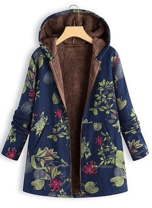 Long Sleeve Hooded Pockets Coats