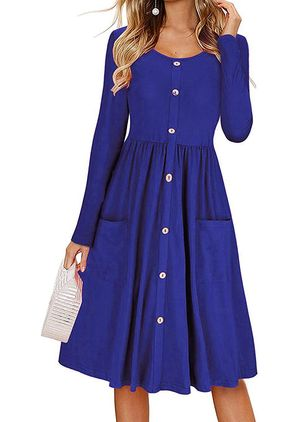 Casual Solid Tunic Round Neckline X-line Dress (147493803)