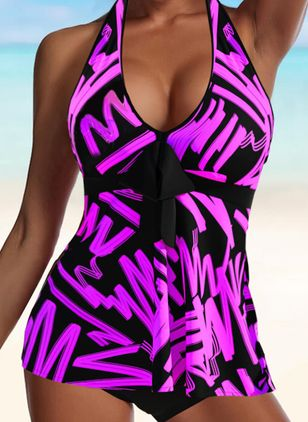 Polyester Halter Color Block Tankinis Swimwear (147190884)