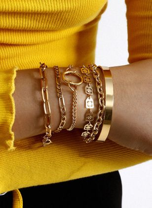 Casual Round No Stone Link Bracelets (4128025)