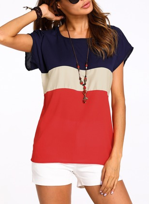 Polyester Color Block Round Neck Short Sleeve Casual T-shirts