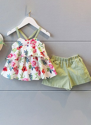 Girls' Floral Daily Sleeveless Clothing Sets