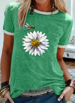Floral Round Neck Short Sleeve Casual T-shirts (4041351)