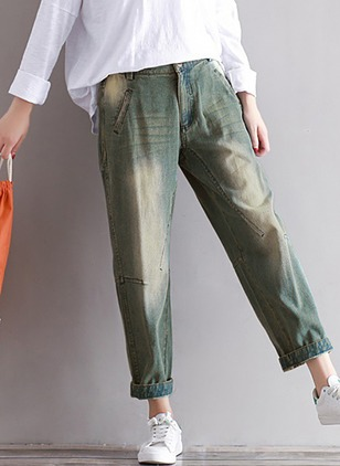 Loose Cotton Jeans Pants & Leggings