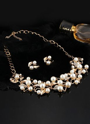 Floral Ball Pearls Necklace Earring Jewelry Sets (104917972)