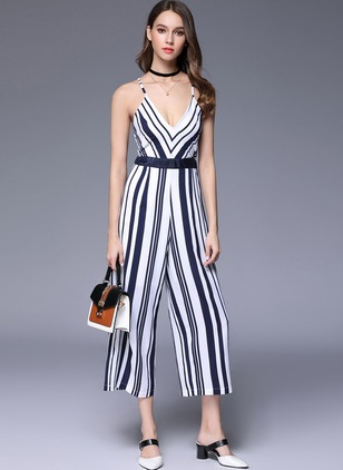 Cotton Stripe Sleeveless Casual Jumpsuits & Rompers  ...