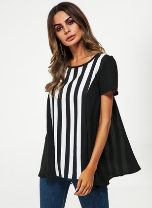 Stripe Casual Round Neckline Short Sleeve Blouses