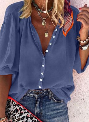 Solid Summer V-Neckline Long Sleeve Blouses (1375710)