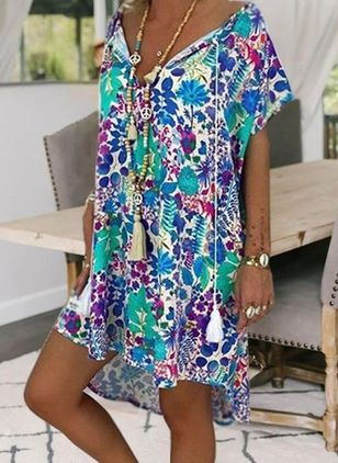 Casual Floral Tunic V-Neckline Shift Dress (2200596)