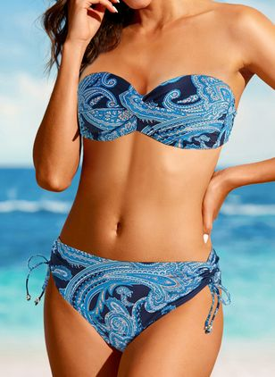 Polyester Halter Knotted Floral Bikinis Swimwear (146979411)
