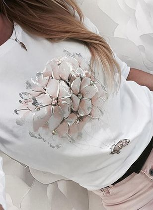 Floral Round Neck Long Sleeve Casual T-shirts (146950092)
