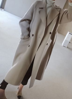 Long Sleeve Lapel Buttons Pockets Trench Coats