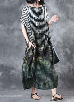 Polyester Color Block Cap Sleeve Maxi Dresses
