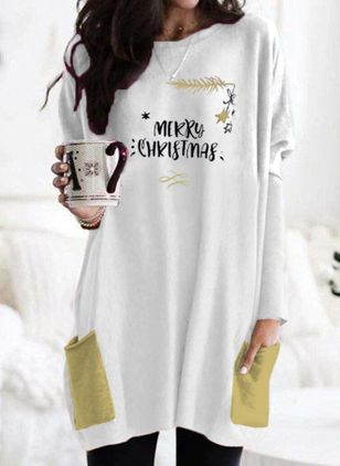 Christmas Animal Tunic Round Neckline A-line Dress (120295516)