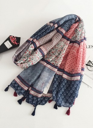 Vintage Cotton Ruffles Others Color Block Scarves