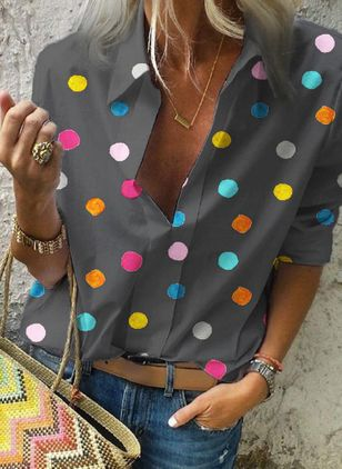 Polka Dot Casual Collar Long Sleeve Blouses (1314732)